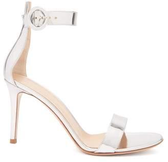 Gianvito Rossi Portofino 85 Mirrored Leather Sandals - Womens - Silver