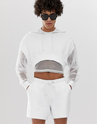 Asos Design DESIGN co-ord oversized cropped hoodie with mesh sleeve and hood in white
