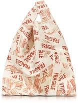 MM6 Maison Martin Margiela Shiny Fragile Print Eco Leather Market Bag