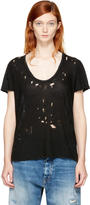 Unravel Black Distressed Basic T-shirt