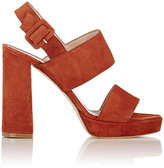 Barneys New York WOMEN'S DOUBLE-BAND PLATFORM SANDALS-RED SIZE 9.5