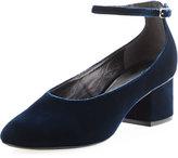 Sigerson Morrison Kairo Velvet Ankle-Strap Pump, Dark Blue