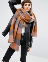 Asos Oversized Long Fluffy Check Pastel Scarf