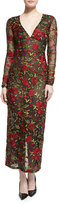 Naeem Khan Long-Sleeve Rose-Embroidered Organza Dress, Black/Red