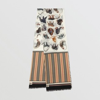 Burberry Icon Stripe and Monkey Print Wool Silk Scarf