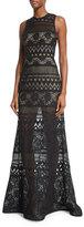 Elie Saab Sleeveless Crocheted Column Gown, Black