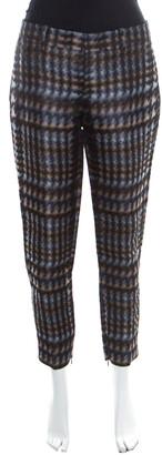 Gucci Metallic Houndstooth Pattern Silk Jacquard Skinny Trousers S