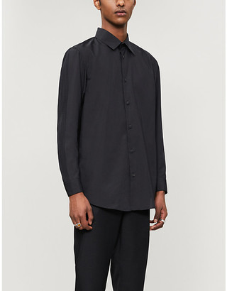 Issey Miyake Pleat-trim relaxed-fit woven shirt