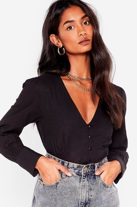 Nasty Gal Womens Linen What They Want V-Neck Cropped Blouse - Black