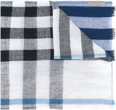 Burberry check scarf - men - Linen/Flax - One Size