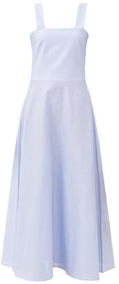 Gioia Bini Lucinda Square-neck Checked Cotton Maxi Dress - Light Blue