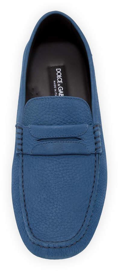 Dolce & Gabbana Pebbled Slip-On Penny Driver, Blue