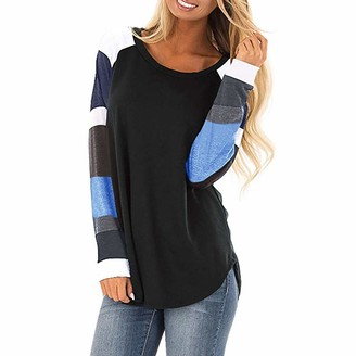 Weant Women T Shirts Womens Tops Long Sleeve Casual Loose Raglan Striped Print Curved Baseball Tunic T-Shirts Blouse Tops for Ladies Teen Girls for Work Fashion Junior Workout Jumper Pullover Sweatshirts Clearance Black
