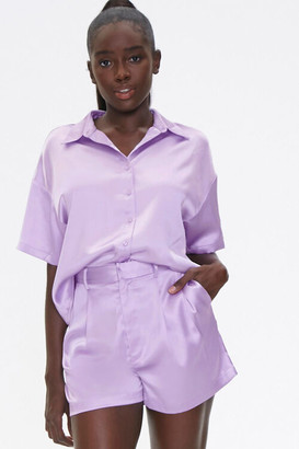 Forever 21 Satin Shirt Shorts Set
