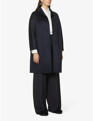 S Max Mara Ladies Navy Blue Anna Single-Breasted Wool And Cashmere-Blend Coat, Size: 2