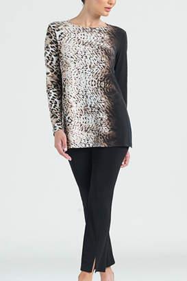 Clara Sunwoo Cheetah Ombre Cut-out Back Knit Tunic