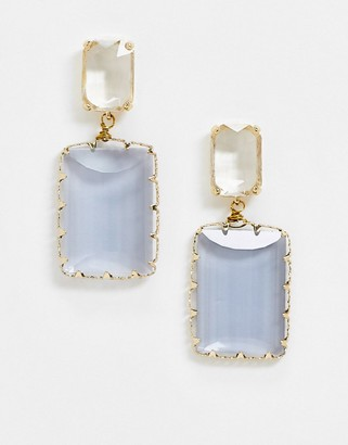 NY:LON grey rectangle stone drop down earrings