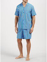 John Lewis Poplin Check Short Pyjamas, Blue