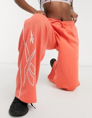 Reebok Training wide leg knit joggers in orange