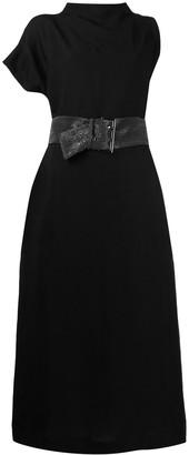 Brunello Cucinelli Asymmetric-Sleeve Belted-Waist Dress
