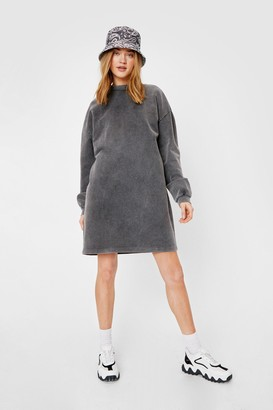 Nasty Gal Womens Acid Wash on the Agenda Sweatshirt Mini Dress - Grey - 6