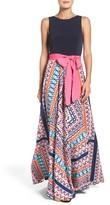 Eliza J Petite Women's Scarf Print Jersey & Crepe De Chine Dress