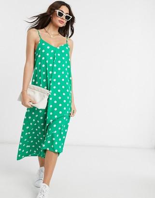 Vero Moda midi dress with tie back in green and white spot