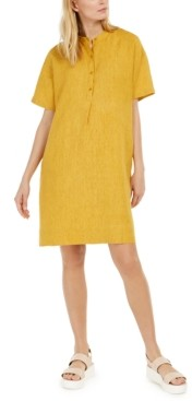 Eileen Fisher Organic Linen Band-Collar Dress, Regular & Petite Sizes