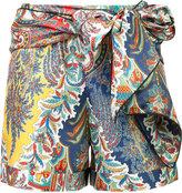 Oscar de la Renta tie up printed short - women - Silk - 4
