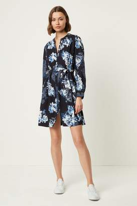 French Connenction Caterina Floral Crepe Shirt Dress
