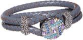 Snap Jewels Women's Bracelets GREY - Crystal & Blue Leather Art Deco Snap Toggle Bracelet