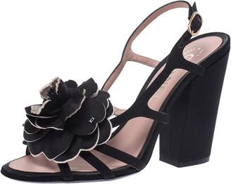 Chanel Black/Cream Satin Camellia Embellished Slingback Sandals Size 36.5