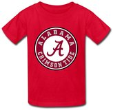 yisw Kids T Shirt Cartoon Ncaa Alabama Crimson Tide Kids Boys Girls T-Shirt Red Size L
