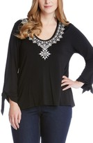 Karen Kane Plus Size Women's Embroidered Tie Sleeve Top