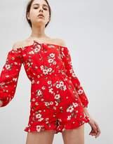 Glamorous Off Shoulder Floral Romper