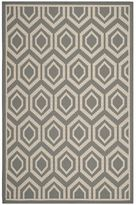 west elm Concentric Diamonds All-Weather Rug - Anthracite/Beige