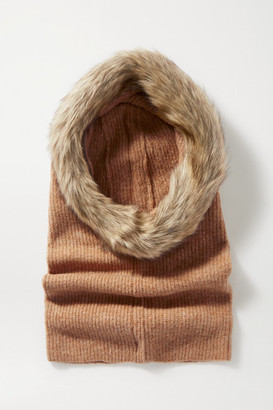 Eugenia Kim Paulina Faux Fur-trimmed Ribbed-knit Snood - Beige