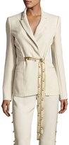 Prabal Gurung Pearly Tie-Front Blazer, Khaki