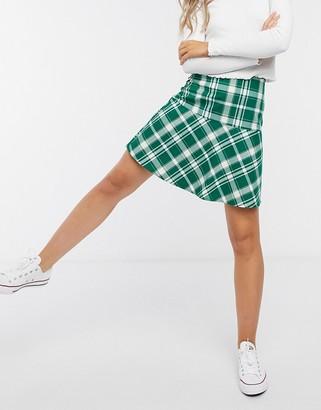 Monki My mini skirt in green check