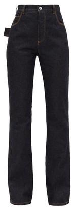 Bottega Veneta High-rise Flared Denim Jeans - Womens - Dark Blue