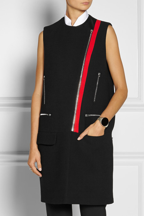 Preen by Thornton Bregazzi Marly leather-trimmed wool-crepe biker gilet