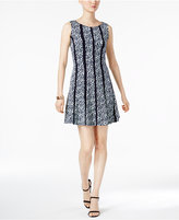 Connected Petite Printed Panel A-Line Dress