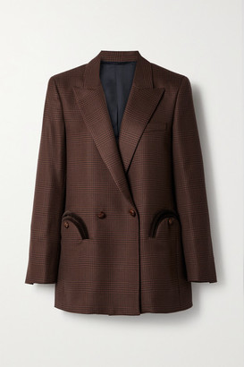 BLAZÉ MILANO Voyager Everyday Double-breasted Corduroy-trimmed Checked Wool Blazer - Brown