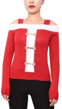 Planet Gold Juniors' Cold-Shoulder Santa Sweater
