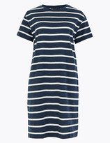 Marks and Spencer Pure Cotton Striped Mini T-Shirt Dress
