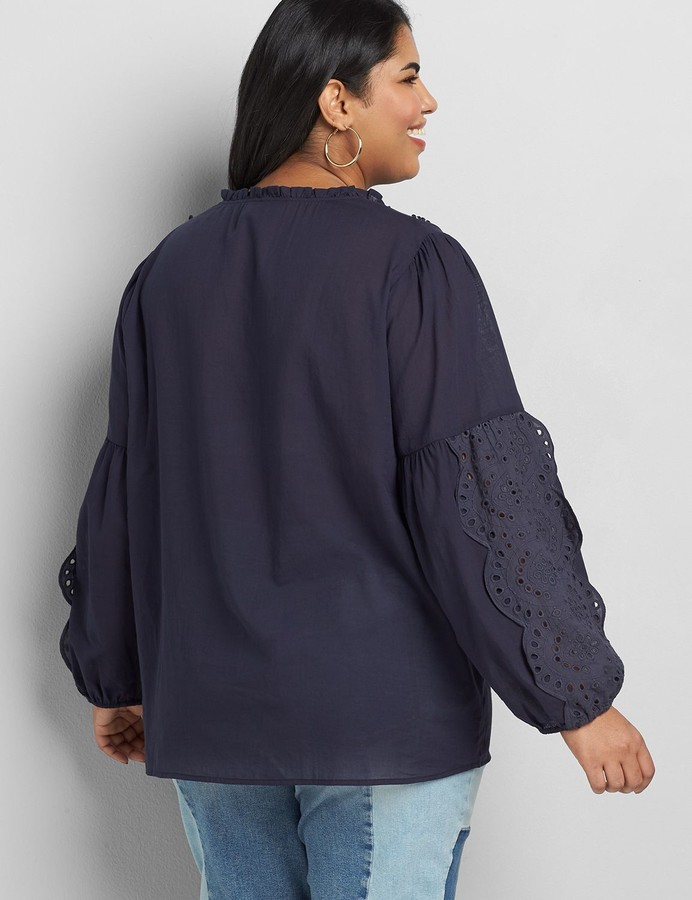 Thumbnail for your product : Lane Bryant Embroidered Peasant Top
