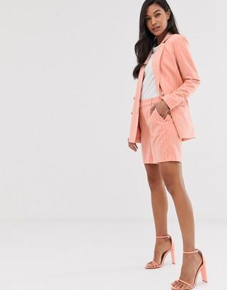 Ichi pinstripe suit shorts-Pink