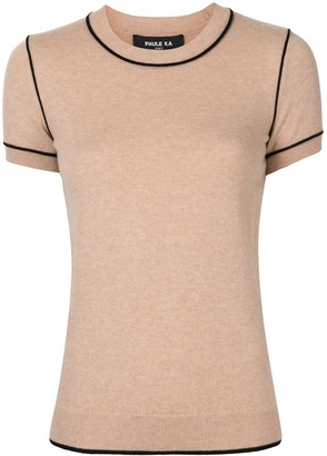 Paule Ka Contrasting Piped Trim Knitted Top