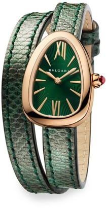 Bvlgari Serpenti Rose Gold & Green Karung Strap Watch