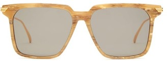 Bottega Veneta Marbled-effect Square Acetate Sunglasses - Brown Print
